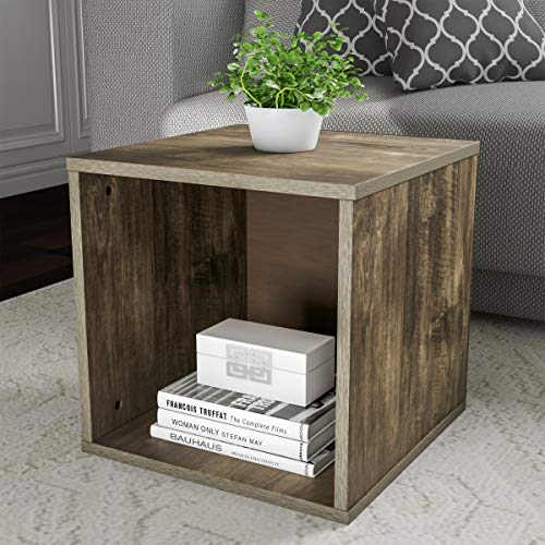 Cube Accent Table - Lavish Home 80-MOD-5 End Stackable Contemporary Minimalist Modular Cube Accent Table or Shadowbox for Bedroom, Living Room or Office (Gray),