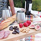 Stainless Steel Stemless Wine Glasses   Unbreakable   Highest Quality   Set of 4 ~ 18 Ounce Drinking Tumblers   BPA-Free, Dishwasher Safe, Portable   Indoor/Outdoor Camping, Picnics, Pool