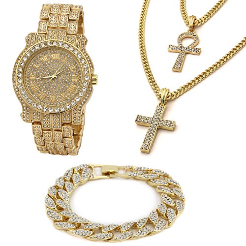 14k Gold Plated Two Pendant Ankh - Cross Iced Out Bundle Fully Cz Watch & Bracelet Set (Watch Pendant Silver Set)