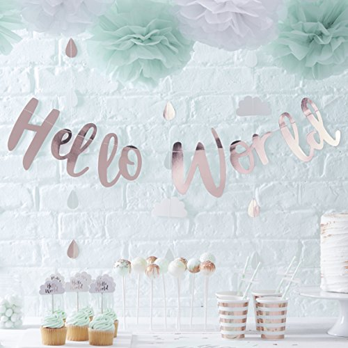 Ginger Ray Rose Gold Hello World Scripted Baby Shower Bunting Banner - Hello World
