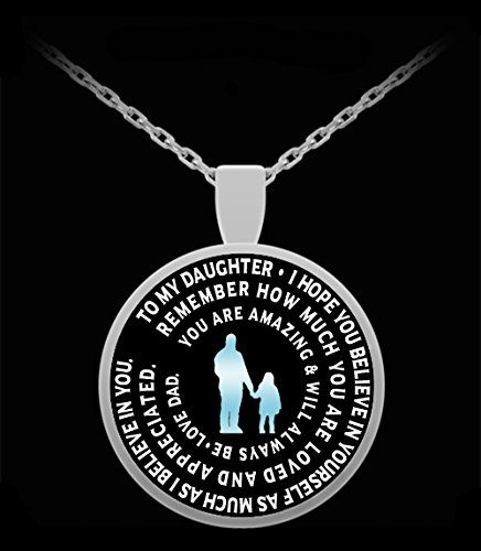 Father to Daughter Necklace - Personalized Silver Pendant Charm From Dad