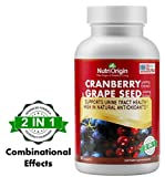 NutriOrigin 2 in 1 Cranberry, Grape Seed Extract Tablets for Urinary Tract Infection UTI and Antioxidant, Dietary Supplements, Made in USA, 90 Counts