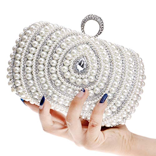 Cascading Rhinestone Bead Bag Evening Clutch Clutch Purse Evening Pearl White Fashion Womens Faux YANXH wxYHgfTT