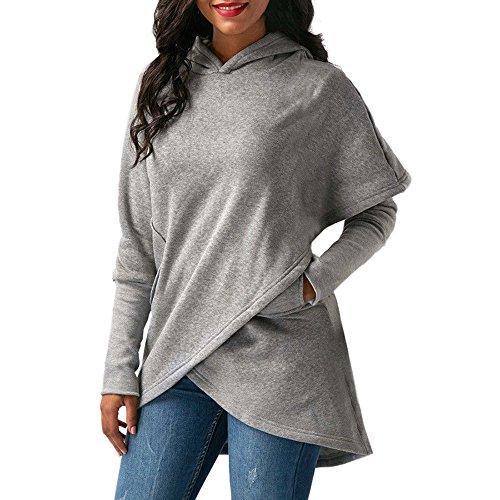 - WEUIE Women Outwear Womens Long Sleeve Hooded Asymmetric Hem Wrap Hoodie Sweatshirt Outwear Tops (XL,Gray)