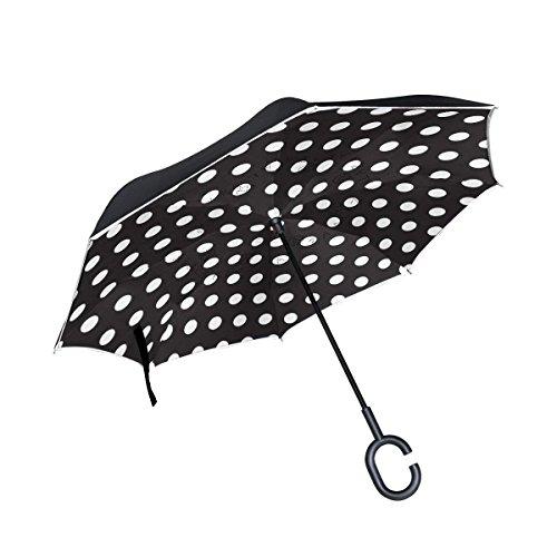 Ladninag Inverted Reverse Umbrella Black White Polka Dot Windproof for Car Rain Outdoor -