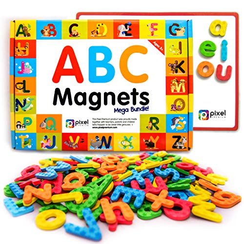 Fridge Phonics Fridge - Pixel Premium ABC Magnets for Kids Gift Set - 142 Magnetic Letters for Fridge, Dry Erase Magnetic Board and FREE e-Book with 40+ Learning & Spelling Games - Best Alphabet Magnets for Refrigerator Fun!