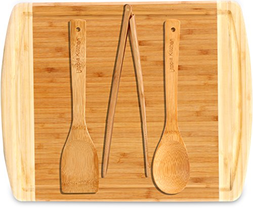 """512epXffyUL - Utopia Kitchen Natural Bamboo Gift Set with 3-Piece Wooden Utensils and a 14.5"""" x 11.5"""" Bamboo Cutting Board"""