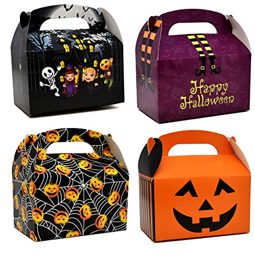 Easy Cheap Homemade Halloween Decorations (48 3D Halloween Cardboard Trick or Treat Boxes Haunted House Gable Boxes for School Classroom Party Favor Supplies Spider Web Witches Legs Jack-o-Lantern Pumpkin Candy Goodie Cookie Box Gift)
