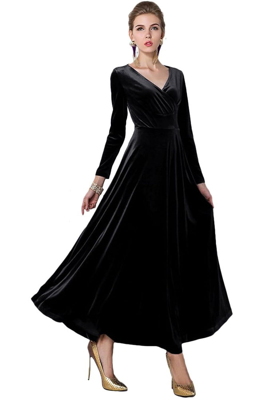 Amazon.com: Urban CoCo Women Long Sleeve V-Neck Velvet Stretchy Long ...