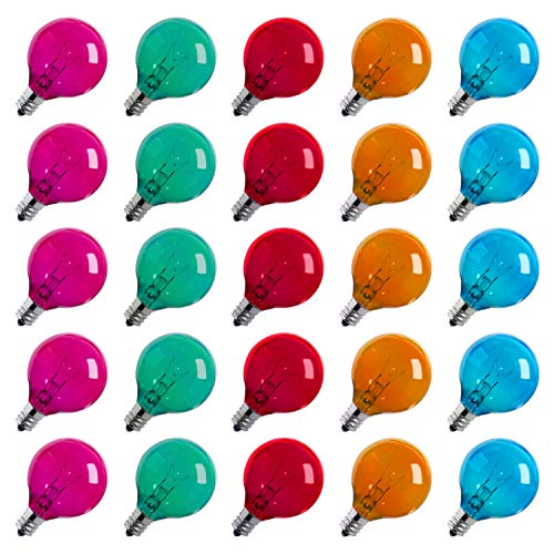 50-Pack Multicolor Globe G40 Replacement Light Bulbs for Christmas Lights, 5-Watt E12 C7 Candelabra Base Glass Bulbs with Transparent Coating, Easily Screw in Strings Spools Strands, UL Listed