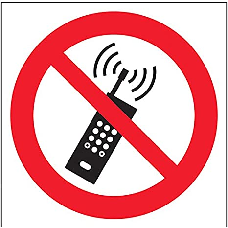 vsafety 51006/AT-S prohibici/ón Logo Sign autoadhesivo Rojo no tel/éfonos m/óviles 200/mm x 200/mm Negro cuadrado