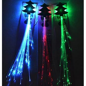 Amazon riorand 6 pack light up fiber optic led hair lights 6 pk 14 led christmas tree flashing hair braid extensions fiber optic pmusecretfo Choice Image