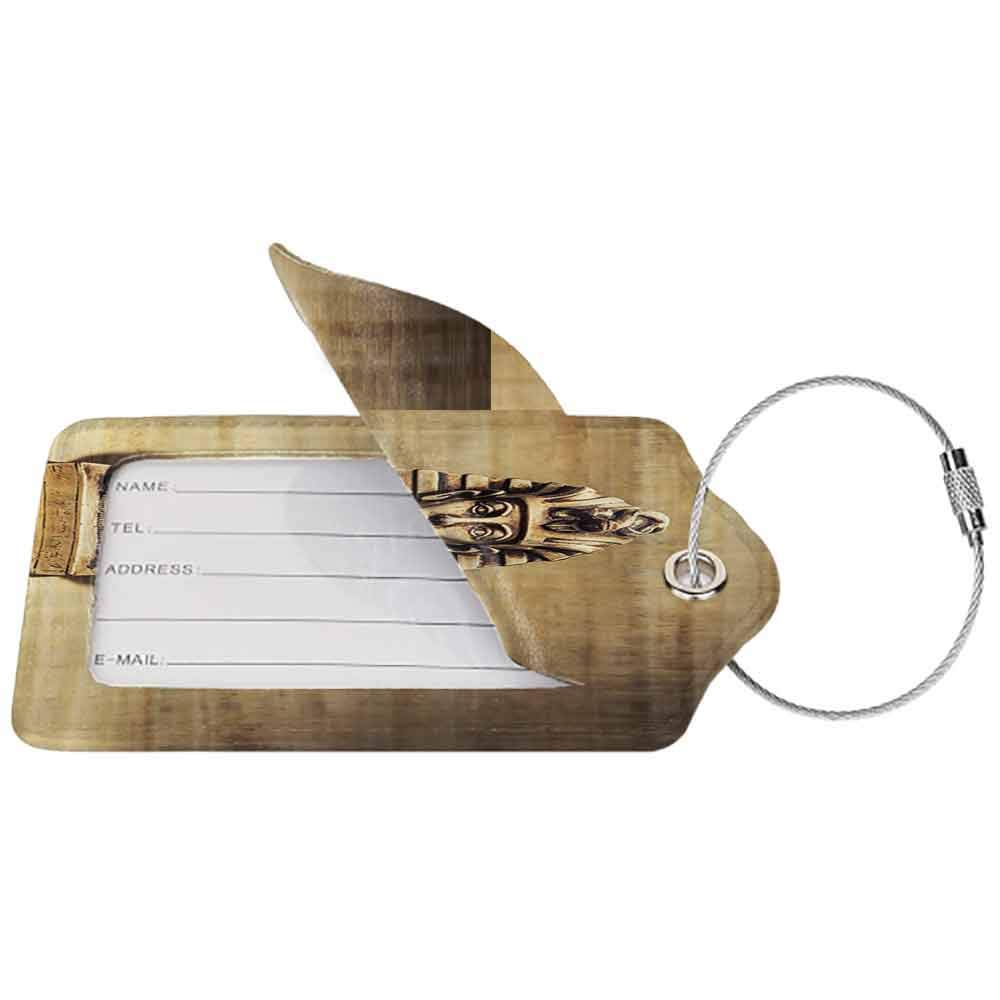 Modern luggage tag Egyptian Decor Collection Stone Pharaoh Tutankhamun Mask Sculpture Papyrus Background Design Suitable for children and adults Ivory Beige Gold W2.7 x L4.6