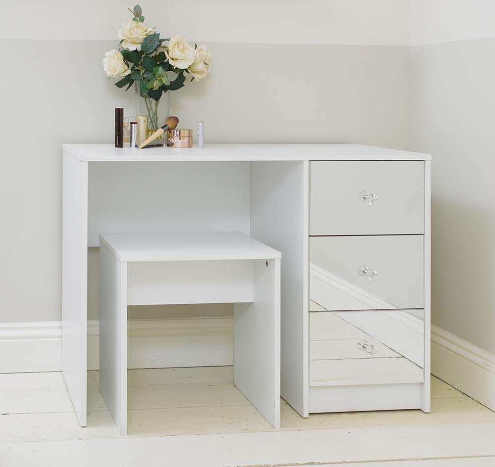 Addspace White Mirrored Three Drawer Dressing Table with Stool Bedroom