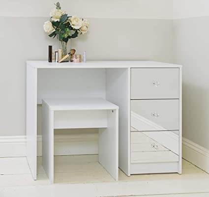 huge selection of e6411 3802d Addspace White Mirrored Three Drawer Dressing Table with Stool Bedroom
