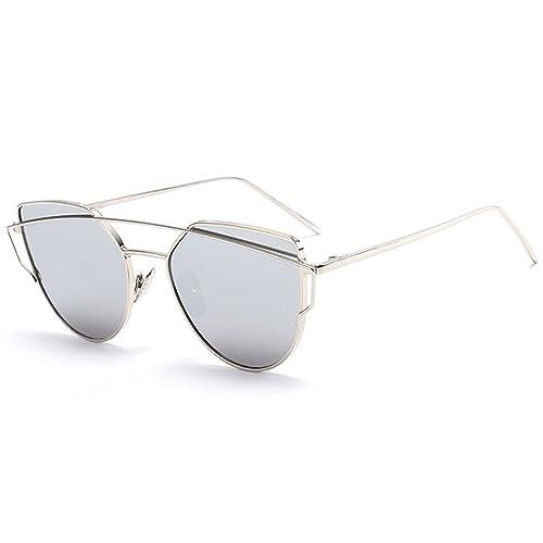 hibote Donna del metallo di modo annata cornice dello specchio degli occhiali da sole unico piano de...