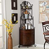 Belham Living Portica Wrought Iron and Wood Corner Bakers Rack