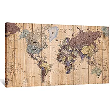 Kreative Arts Large Canvas Wall Art Vintage World Map of The World Poster Art Prints Retro Detailed Maps Painting Modern Picture Art Work for Home Walls Office Decor Ready to Hang 55x32inch