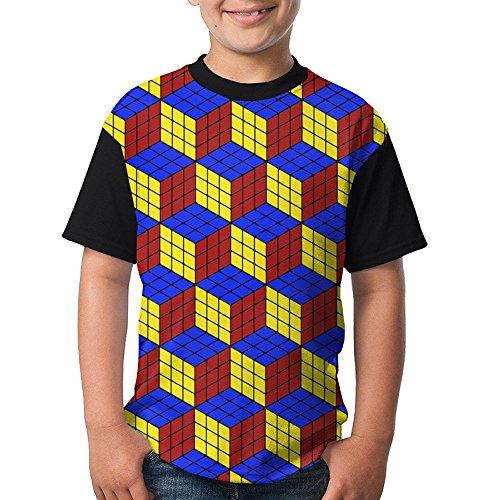 Youth Funny Short Sleeve Baseball Shirt Rubik's Puzzle Game Round Neck Tees Tops (Long Sleeve Footlocker)