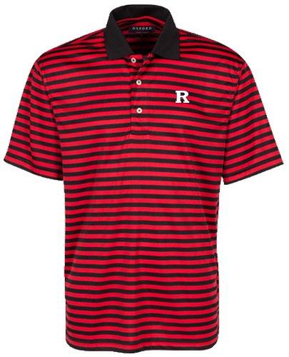 Bar Stripe Polo (Oxford NCAA Rutgers Scarlet Knights Men's Bar Stripe Golf Polo, Black/Cardinal, Medium)