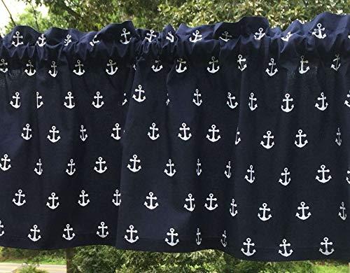 Short Anchor Navy Sailor (Nautical Navy Blue & White Sail Boat Anchors Sailor Beach Curtain Valance a4/35)