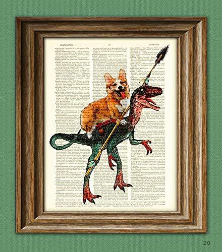 CollageOrama Cavedog the Corgi rides a Velociraptor Dinosaur dog original art vintage dictionary page book art print, 8.5 x 11 Inch ()