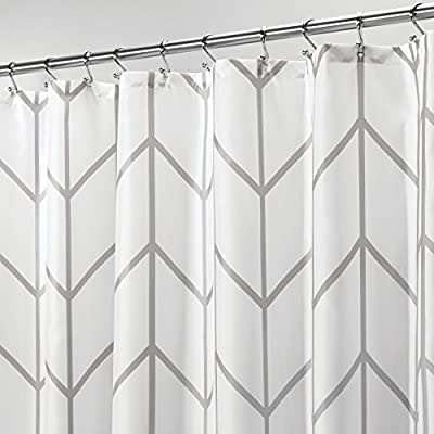 "mDesign Decorative Chevron Zig-Zag Print - Easy Care Fabric Shower Curtain with Reinforced Buttonholes, for Bathroom Showers, Stalls and Bathtubs, Machine Washable - 72"" x 72"" - Gray/White - PREMIUM QUALITY: The tight weave of the fabric, and superior quality of the polyester yarns provide this curtain with a firm, smooth texture, which promotes water bead formation and is made to withstand damp, moisture rich bathroom environments; Drapes beautifully for a clean fresh look in your bathroom and has a soft hand feel REINFORCED BUTTON HOLES: Reinforced button holes work with most types of shower hooks and rings for quick and simple installation; (Hanging rings/hooks are not included); Top hem is reinforced to hold up to long term use; This shower curtain is perfect for anyone wanting to add some fun and whimsy to their shower - use at home, apartment, condo, hotel, camper, RV, dorm room, school shower, athletic club, gym and everywhere else you need a reliable shower curtain or liner SIMPLE INSTALLATION: Each curtain contains 12 reinforced buttonholes that fit most standard shower hooks (not included), and the generous size is sure to fit most bathtubs and shower stalls; Machine washable to keep mold and mildew away - shower-curtains, bathroom-linens, bathroom - 512esYLb %2BL. SS400  -"