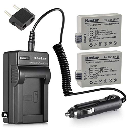 Kastar Battery (2-Pack) and Charger Kit for LP-E5, LC-E5E Work with Canon EOS 450D, 500D, 1000D, Kiss F, Kiss X2, Kiss X3, Rebel XS, Rebel XSi, Rebel T1i Digital Cameras and Canon BG-E5 Grip