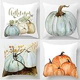 Autumn Decorations Pumpkin Pillow Covers Set of 4 Fall Decor Grateful Thanksgiving Throw Pillow Covers Cushion Cover 18 X 18