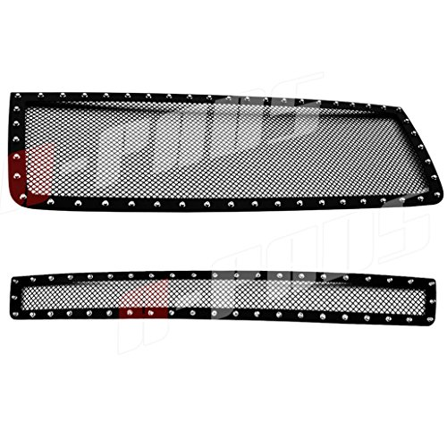A-PADS 2PC Black Mesh Rivet Studs Grille Combo For GMC SIERRA 2500 HD 3500 HD 2007-2010 - WITHOUT Logo OVERLAY/Bolt-On