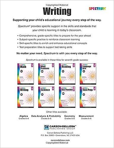 Spectrum Writing, Grade 7: Spectrum: 9781483812021: Amazon.com: Books