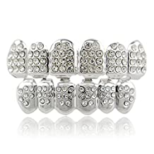 Lureen 14k Gold Plated Iced Out Grillz with Diamond Hip Hop Teeth Top and Bottom Set