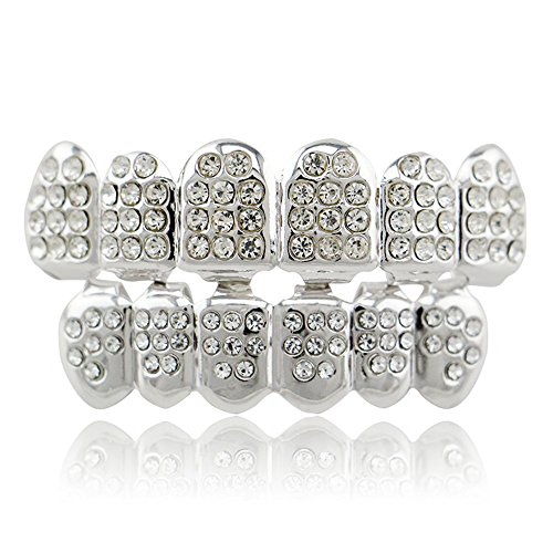 LuReen Silver Plated Iced Out Grillz with Diamond Hip Hop Teeth Top and Bottom Set (Silver)