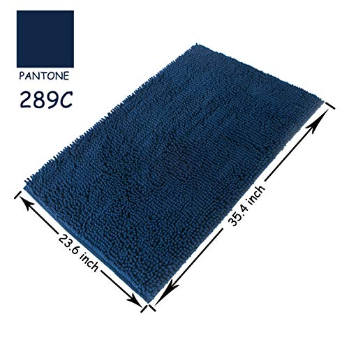 Famibay Bath Mat, Shaggy Chenille Bath Mat Microfiber Hotel Spa Bath Rug and Mat For Bathroom No slip Bath Tub and Shower High Absorbent Soft Large Accent Rugs, 23.6x35.4 Inches Navy by Famibay (Image #1)