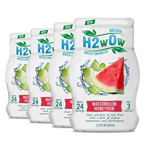 H2wOw Water Enhancer Drops  ORGANIC & Natural Extracts of Real Fruit - a Hint of Organic Stevia - Makes 768 oz of Delicious Watermelon Honeydew Flavored Water (4 Pack)