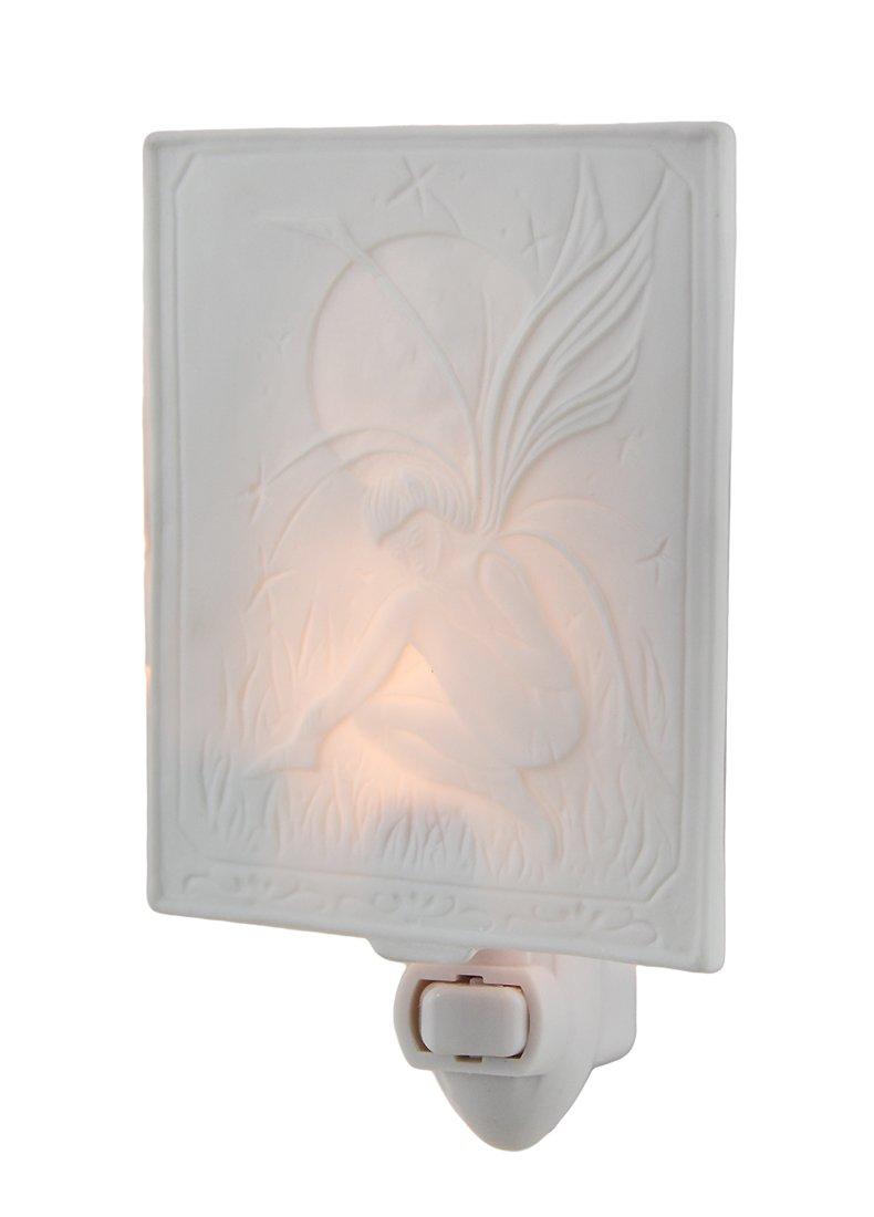Porcelain Night Lights White Porcelain Moon Fairy Night Light 3.75 X 4.5 X 0.13 Inches White