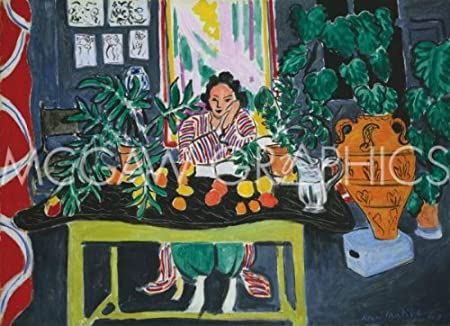 interior with an etruscan vase interieur au vase etrusque 1940 by henri matisse