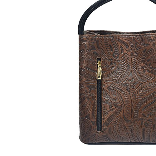 'fiore' Designer Chocolate Brown Tooled Handbag By Samoe Style Ss-2518