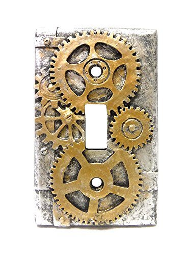4.25 Inch Resin Steampunk Light Switch Plate Cover, Gold/Gra