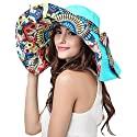 Women's Foldable Floppy Reversible Travel Beach Sun Visor Hat Wide Brim UPF 50+