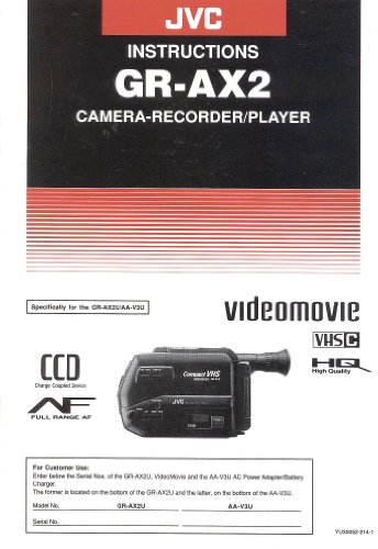 JVC GR-AX2 Camera-Recorder/Player Original Instruction Manual
