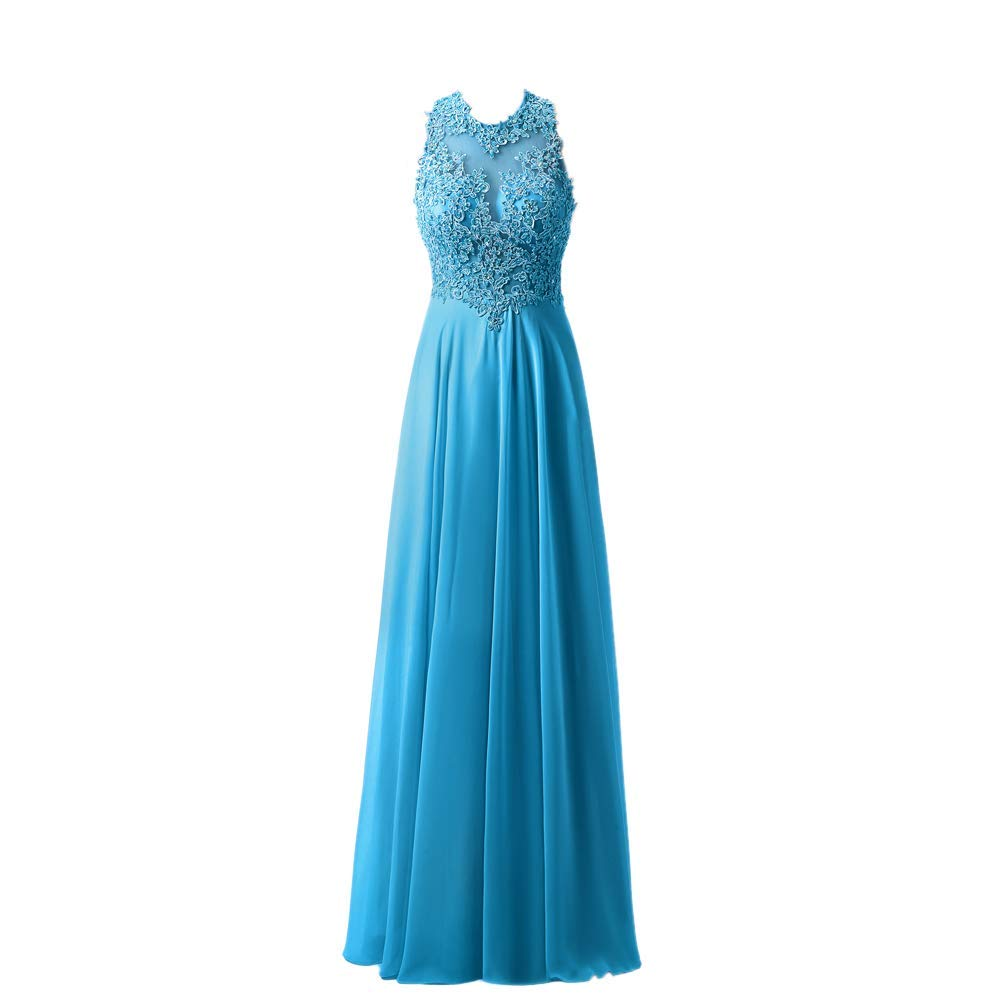 bluee Fannybrides A Line High Neck Lace Prom Dress Beaded Long Evening Gown