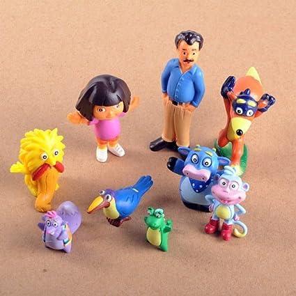 "Dora the Explorer 9 Piece Adventure Play Set Featuring 9 Figures 1/2"" to"