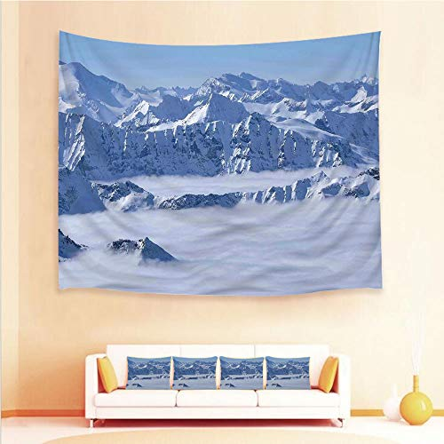 iPrint 1pcs Hanging Tapestry 4pcs Pillow case,Wall Hanging Blanket Beach Towels Picnic Mat Home Decor,Land Over Austrian Alps Summit Climate Skiing,3D Printed Tapestry Bedroom Living ()