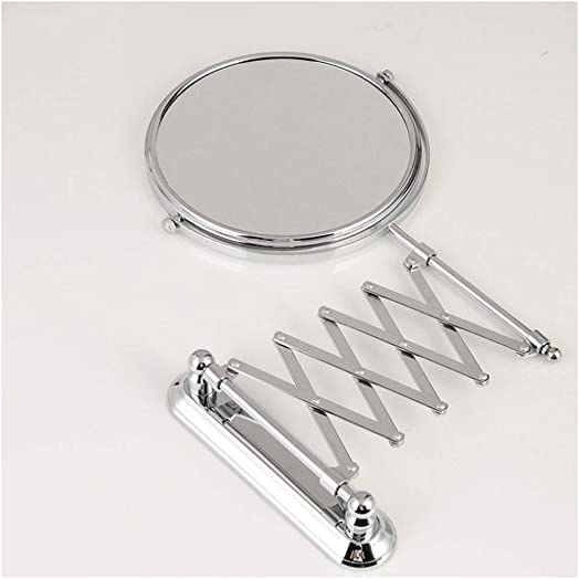 Wall-Mounted Vanity Mirrors,Bathroom Hotel Vanity with Adjustable Extendable Round 7in 9in 3X Magnification Chrome Double Sided Makeup Mirror Size 7 inches