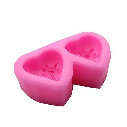 Moldes de silicona para tartas, diseño de corazones dobles con flores, moldes para tartas