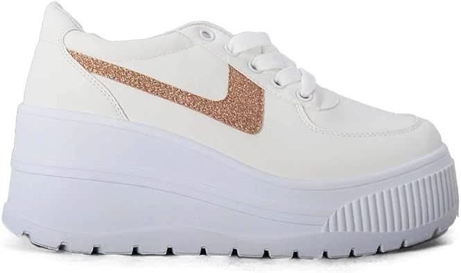 Zapatillas Mujer Plataforma y Cuña Blancas SS19: Amazon.es ...