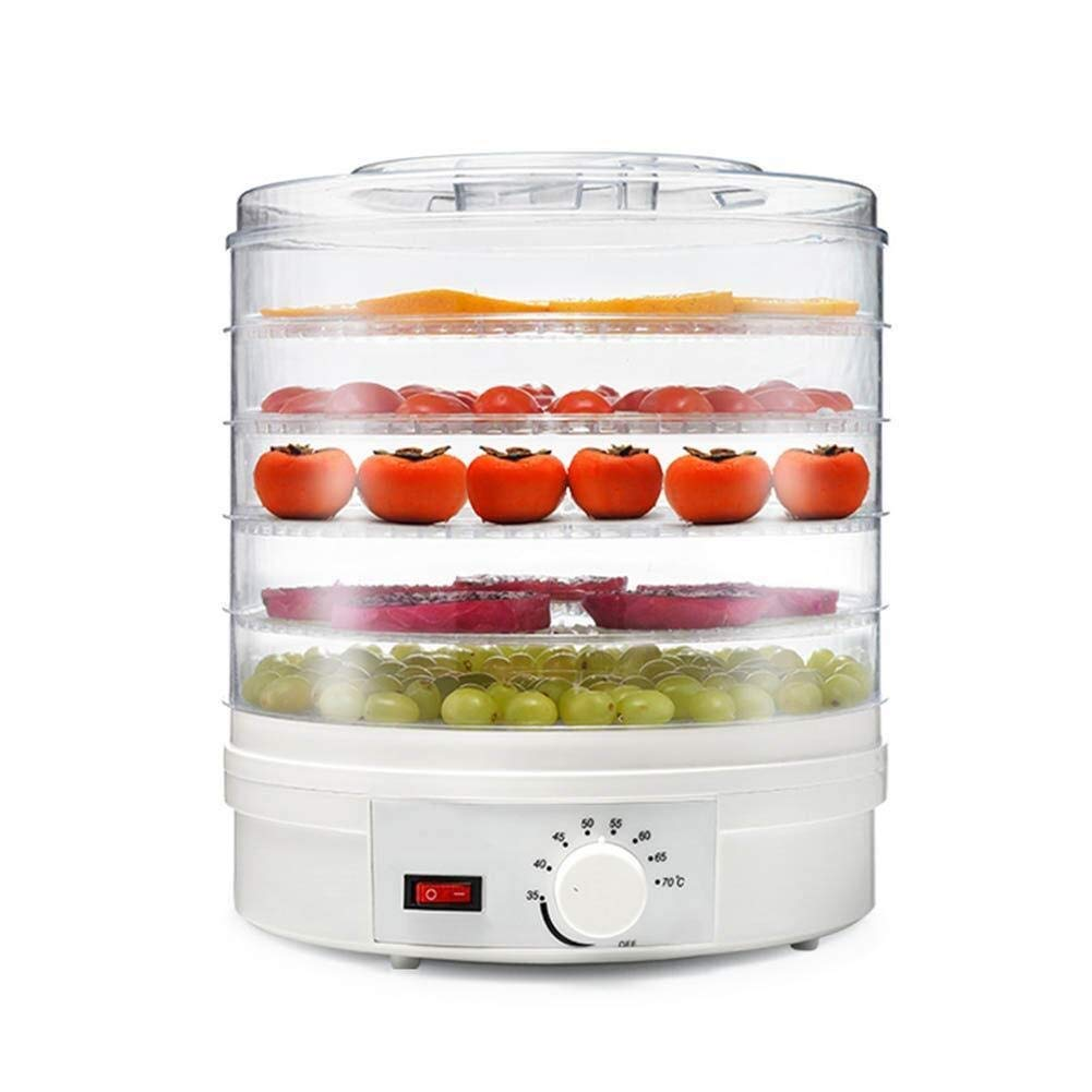 Food dehydrator Digital Food Dryer & Dehydrator 5-Layer Transparent Tray Independent Timing Temperature Adjustment Faster and Efficient Drying White,White (Color : White) by ZTHUAYUAN