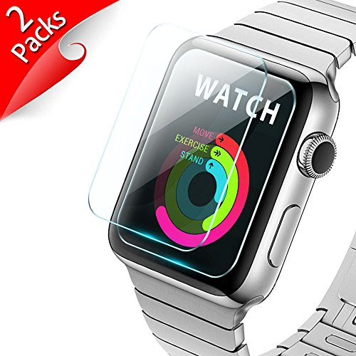 iXCC [New Enhanced] 42mm Apple Watch Screen Protector 2-Pack Tempered Glass Screen Protector [Anti-Bubble, Scratch Resistant] [Only Covers The Flat Area] ()