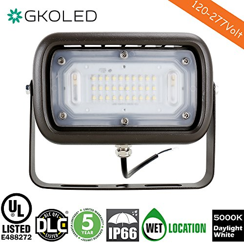GKOLED 30W LED Floodlight, Outdoor Security Fixture, Waterproof, 100W PSMH Replace, 3000 Lumens, 5000K Daylight White, 70CRI, Yoke Trunnion Mount, UL-Listed & DLC-Qualified, 5 Years (120v Trunnion Mount)